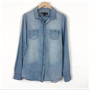 Vans Chambray Long Sleeve Button Up Shirt Size L